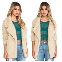 Women Winter Trench Coats Larger Lapel Outerwear European Thick Long Warm Woolen Blend Parka Overcoat Apricot Jacket AY657252