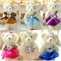 New small plush toy doll wedding masonry decorative bow cartoon teddy bears small pendant single high 12cm