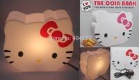 Cute Hello Kitty Lamp Bulb Desktop Night Light Table Lamp Desk Light + Cute Coin Bank Money Box Christmas Birthday Gift