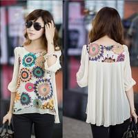 2014 spring summer women blouse super good texture, back pleats, large size, retro print chiffon shirt, XXXL XXXXL plus size