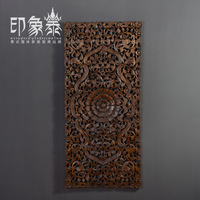 Wood carving home crafts entrance partition cutout handmade sculpture carved board