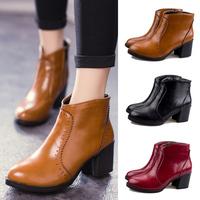 2014 autumn women fashion martin black brown Ankle round toe non-slip rubber botton boots shoes size35-39 free shipping