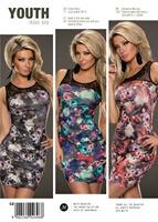 woman dress summer Turquoise Blossom Rose Lace Neck Sleeveless vintage print mini dresses vestidos femininos