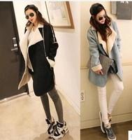 2014 free shipping 9010 autumn winter women's trench medium-long loose deerskin berber fleece cashmere overcoat outerwear