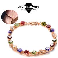Joyme 2014 new Top Quality Round Multicolor Swiss Cubic Zirconia Bracelets for women Wedding Jewelry Bracelet & Bangles BR0011