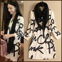 2014 female autumn letter print small high quality elegant dress elegant one-piece dress