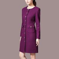 new arrival high quality elegant women wool slim trench coats winter,women designer coats purple color  Y38