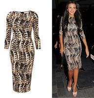 European style super star leopard sexy hip package half sleeve slim bodycon club dress S M L XL XXL Dropshipping YS1446LS