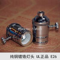 Vintage lamp bases E26E27 copper Chrome plating Edison retro bulb bases knob switch pendant lamp holder 12PCS free by FEDEX