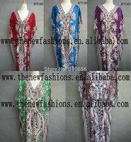 2014  Hot Sales Woman Summer Cotton Plus Size Tribal V Neck Sexy Beach Kaftan Dress With Belt
