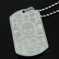 Stainless Steel Skull Logo Design Dog Tags  Pendant Necklace For Man Women Fashion Jewelry Sets