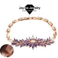 Joyme 2014 new Top Quality Cubic Zirconia Vintage Flower Bracelets for women 18K Rose Gold Plated Bracelet & Bangles BR0012