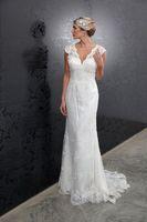 Custom White Lace V-neck Wedding Dress  Size