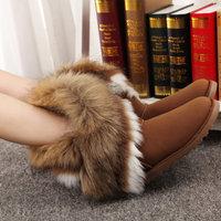 slip-resistant  female snow boots with imitation fox fur