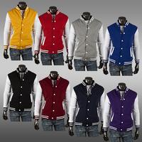 Fashion Classic Unisex Mens Slim Fit College Varsity Baseball Jacket 8 Clors M~XXL