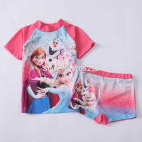 Free shipping  Girl Girls SUV sun protection anti-uv swimwear bather t shirt short 2pcs sets 6sets/lot FGS05