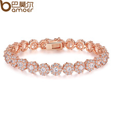 Bamoer Luxury 18K Rose Gold Plated Chain Bracelet for Women Ladies Shining AAA Cubic Zircon Crystal Jewelry Gift   JIB012(China (Mainland))