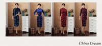 Free shipping fashion chinese style dress women's cheongsam velvet print vintage Half sleeve chinese traditional dresses 2507