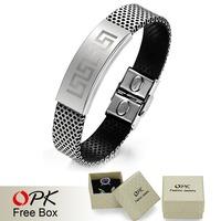 OPK 2015 New Sports Brand PU Leather Bracelet & Bangles Fashion Sports Leather Bracelet Men And Women Cuff Bangle Hot Sale