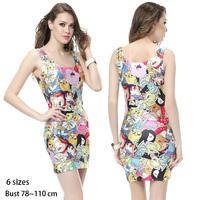 Vestidos 2014 New Fashion Casual Dress Women O-Neck Sleeveless Print Sexy Mini Party One-piece Dresses Brand Women's Clothing