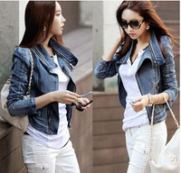 2015 autumn Women Denim Jacket Jeans Coats Casual Jackets Women Vintage Jeans Jacket For Girl Patchwork Woman Clothing