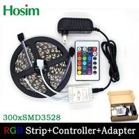 Hosim 5M/16.4Ft  3528 RGB Color 300LED Fleixble Strips Set + 24 Keys IR Remote Controller + Power Adapter