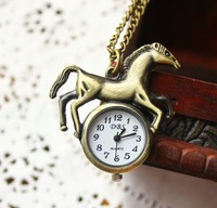 Free shipping wholesale dropship horse pocket watch women quartz analog with long chain for children