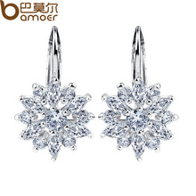 Bamoer Real 18K Platinum Plated Stud Earrings with Flower Shape Multicolor/Silver AAA Zircon For Women Jewelry JIE041