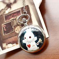 Necklace pocket  watch silver fashion rabbit horn Ceramic for women ladies quartz analog dropship top qaulity