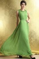 Elegant Dark Green Chiffon Bohemian Pleated Maxi Dress  LC6183 Free Shipping