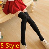 2014 New HARAJUKU Women Student Sexy High Cotton Over-the-Knee Legs Stockings Pantyhose Nylon Stockings Black Striped Tights