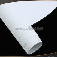 1.52*30m 3D carbon texture fiber white vinyl wrap film with air bubble free