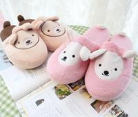 Plush cute 1 pair cartoon funny ear dog dot winter warm home floor slippers no slip children holiday toy girl gift