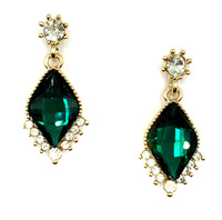 New 2014  hot sell Trend fashion rhombus crysta vintage design party girl statement Earrings for women wholesale