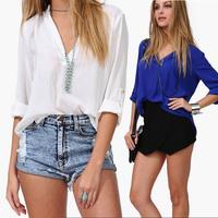 Blusas Femininas 2014 Camisa de Chiffon Blouse Long Sleeve Blouses Shirts Fashion Casual Brand Women Clothing Ladies Office Tops