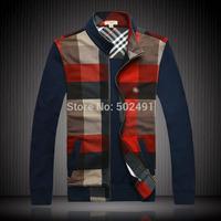 New Mens Plaid Jackets Hoodies And Sweatshirts Men's Fashion Emboroidery Jacket Men Clothing Brand 2014 Hip Hop Size:XXXL-M