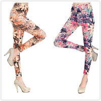 2014 Rushed Sexy Punk Paint Floral  Printing Elastic Leggings Fitness Pants Polainas Woman Jogar a calcinha Leggin FreeShipping