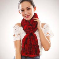 Flower women's fur muffler scarf rex rabbit hair fur scarf winter cape