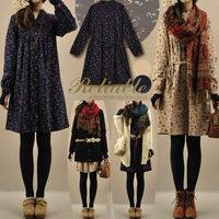 Korean vintage female autumn floral print dress cute corduroy long-sleeve loose one-piece dresses women 1040
