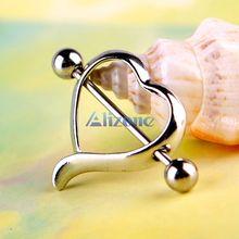 2pcs Jewelry Surgical Steel Love Heart Nipple Shields Bar Navel Ring Body Piercing #48630(China (Mainland))