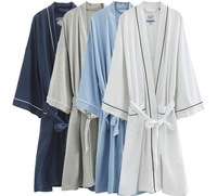 Free Shipping 2014  Top Sales Woman And Man Good Quality 100% Soft Cotton Waffle Weave SPA Bath Robe With Good Edge ,4 Colors