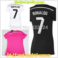 14 15 Real madrid women black soccer jersey real madrid women shirt.real madrid women jersey 2015 Ronaldo BALE girl soccer shirt