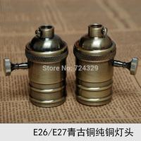 Vintage lamp bases E27 Edison copper Bronzed retro bulb base underplating knob switch pendant lamp holder 12PCS free by FEDEX