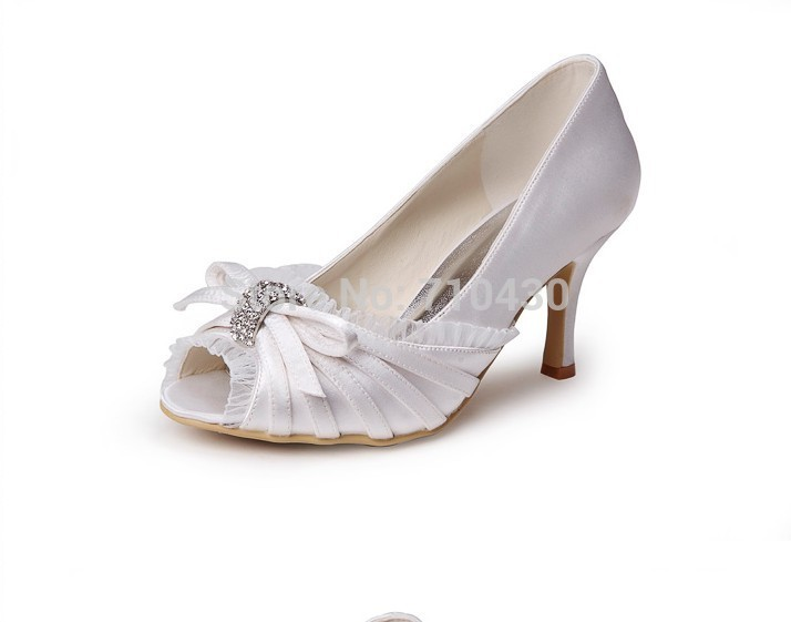 Luxury White Peep Toe Ladies' Bridal Pumps Shoes Large Sizes High Heels W-MZ631(China (Mainland))