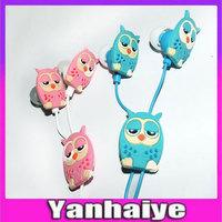 3.5mm mini Cartoon Minions earphone Stylish owl  Headphone for MP3/MP4/Mobilephone