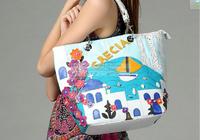 Braccialini 's same designer women's vintage handbag handbag PU preppy style casual bag brand Romantic Aegean Sea crecia  Italy