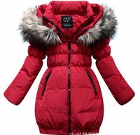 Retail 1 Pc Children Medium-Long Duck Down Thickening Outerwear Girls Winter Coat Jackets Girl's Down & Parka Coats