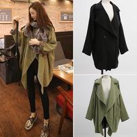 2014 Fashion Korea Autumn Loose Elegant Asym Casual Turn-down Collar Winter Women Blends Long Cotton Women Coat