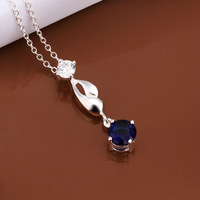 Promotions price,925 sterling silver blue crystal pendant necklace,hot sale fashion jewelry necklace,N497