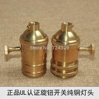 Vintage lamp bases Edison E26E27 UL copper golden bulb bases retro knob switch pendant lamp holders 12PCS free by FEDEX